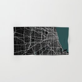 City of Chicago Map Hand & Bath Towel