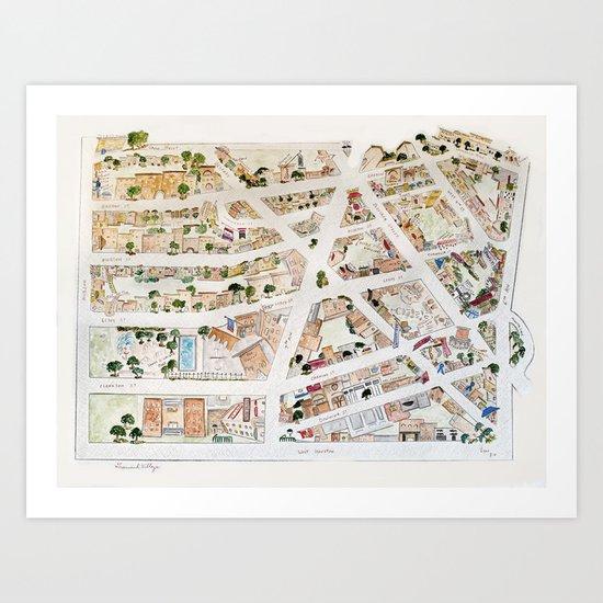 Greenwich Village Map by Harlem Sketches Art Print