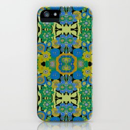 Boho Hippie Garden -  Aqua Gold Avocado  iPhone Case