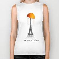 paris Biker Tanks featuring Paris by Mehdi Elkorchi