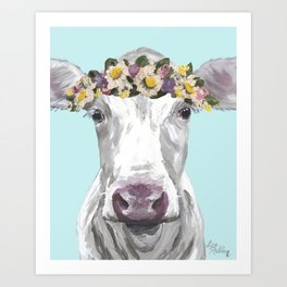 Cute Cow Up Close, Flower Crown Cow Art Print