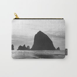 Haystack Rock in Black and White - Cannon Beach, Oregon Film Photo Carry-All Pouch