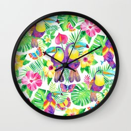 Tropical Toucans in Watercolor White Wall Clock