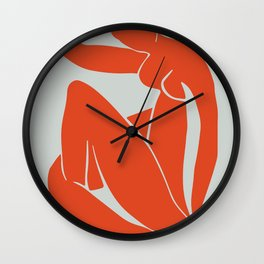 Blue Nude in Orange - Henri Matisse Wall Clock