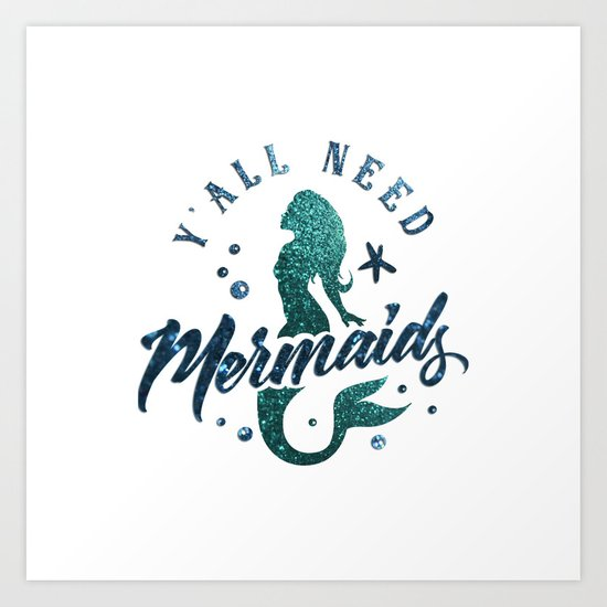 Mermaids - aqua and green glitter design Art Print