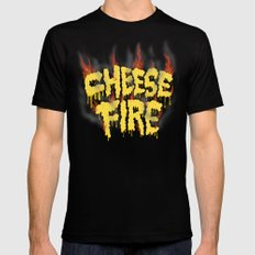 CHEESE FIRE!!! Mens Fitted Tee MEDIUM Black