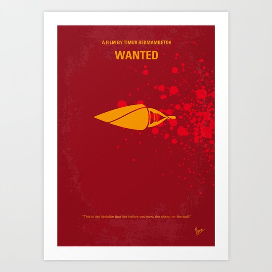 No176 My wanted minimal movie poster Art Print