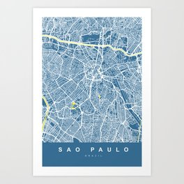 Sao Paulo City Map | Brazil | Blue | More Colors, Review My Collections Art Print