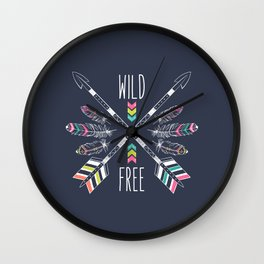 """Ethnic frame made of feathers, threads and beads with text """"Wild and Free"""". Freedom concept. Wall Clock"""