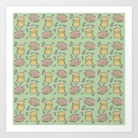 hamster Art Prints featuring Hamster Pattern by Noreen Torelli