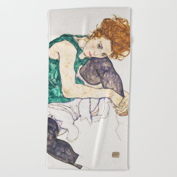 Girl Sitting With Knees Up By Egon Schiele Beach Towel By