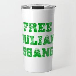 Free Julian Assange Green Grunge Travel Mug