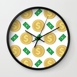 Dollar pattern background Wall Clock