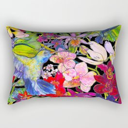 Hummingbirds Black Rectangular Pillow