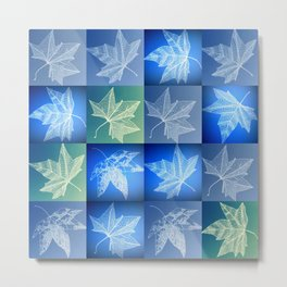 blue leaf drawings Metal Print