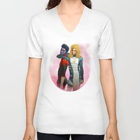 nightcrawler V-neck T-shirts featuring Demon and Angel by Kimball Gray