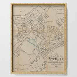 Vintage Map of Everett MA (1892) Serving Tray