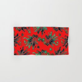 Vintage floral seamless pattern with hand drawn flowering crocus on the red background Hand & Bath Towel
