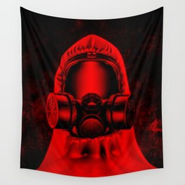 Toxic environment RED / Halftone hazmat dude Wall Tapestry