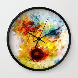 Watercolor Sunflowers Wall Clock