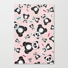 Panda Freefall in Pink Canvas Print
