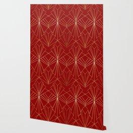 Crimson Red Art Deco Wallpaper