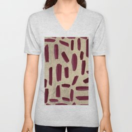Modern burgundy gold watercolor brushstrokes Unisex V-Neck