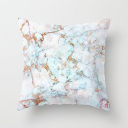 Soft Whites, Aquas and Blush of Pink and Rose Gold Veins Marble Throw Pillow