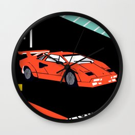 Wicked - sports car 80s retro throwback memphis style motorhead Wall Clock