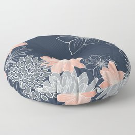 Festive, Floral Prints and Line Art, Navy Blue, Coral and Gray Floor Pillow