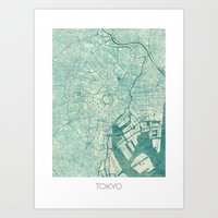 vintage map Art Prints featuring Tokyo Map Blue Vintage by City Art Posters