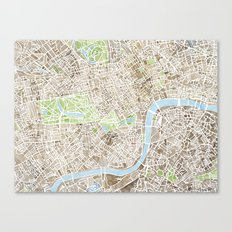 London Sepia watercolor map Canvas Print