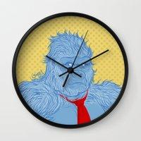 donkey kong Wall Clocks featuring Donkey Kong by Ismael Álvarez