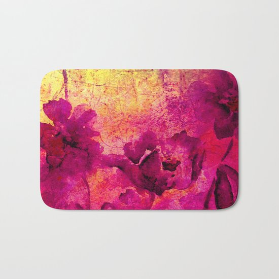 floral in deep pink and yellow Bath Mat
