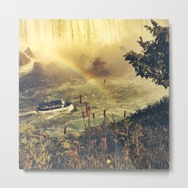 Eyes filled with rainbow, she slid bravely past the rocks. Metal Print