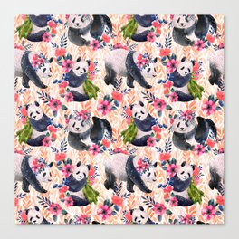 Watercolor pattern with pandas and flowers. Canvas Print