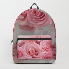 Pink Roses White Roses Shabby Chic Romantic Floral Home Decor Backpack