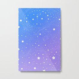 Stars In Space, Vivid Blue & Violet Night Sky Vector Pattern Metal Print