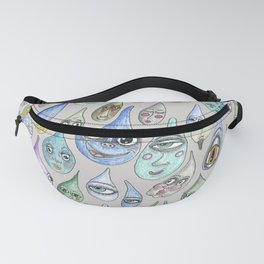 raindrops with personality, cool light gray grey Fanny Pack