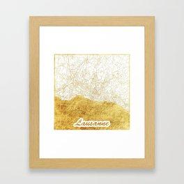 Lausanne Map Gold Framed Art Print