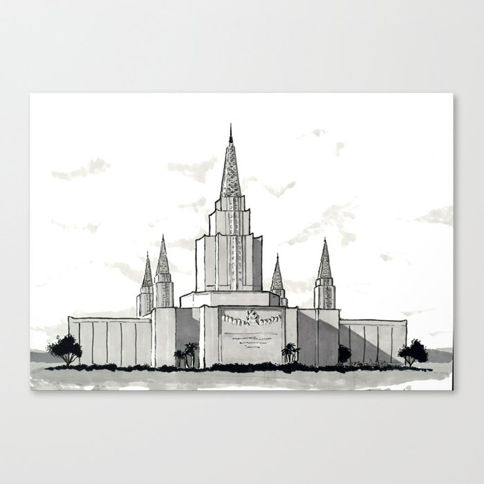 Oakland California Temple Canvas Print by hisholyhouse