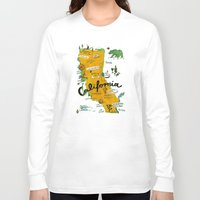 postcard Long Sleeve T-shirts featuring Postcard from California by Christiane Engel