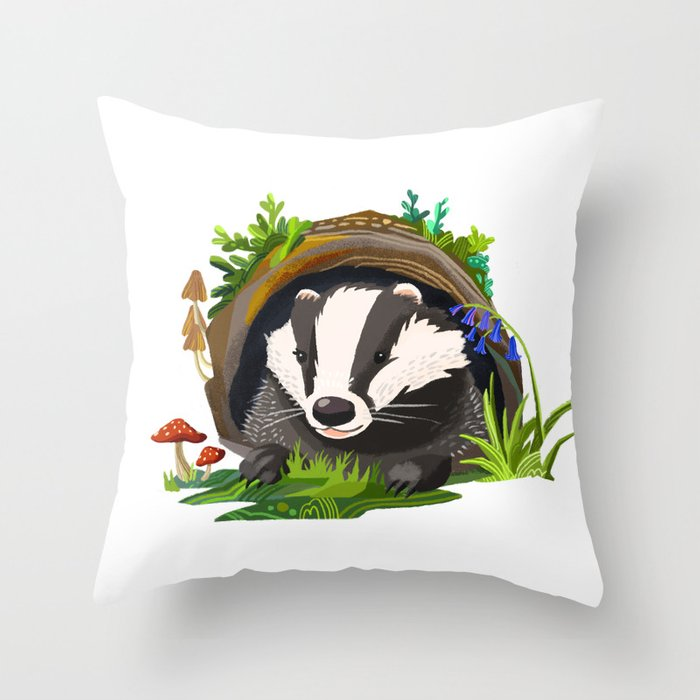 Badger and Bluebells Throw Pillow