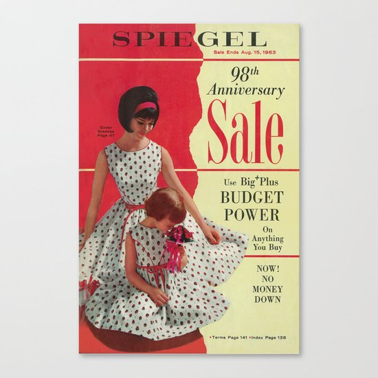 1963 - 98th Anniversary Sale -  Summer Catalog Cover Canvas Print