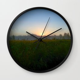 Sunrise Behind Forest Over Grassy Swamp Wall Clock