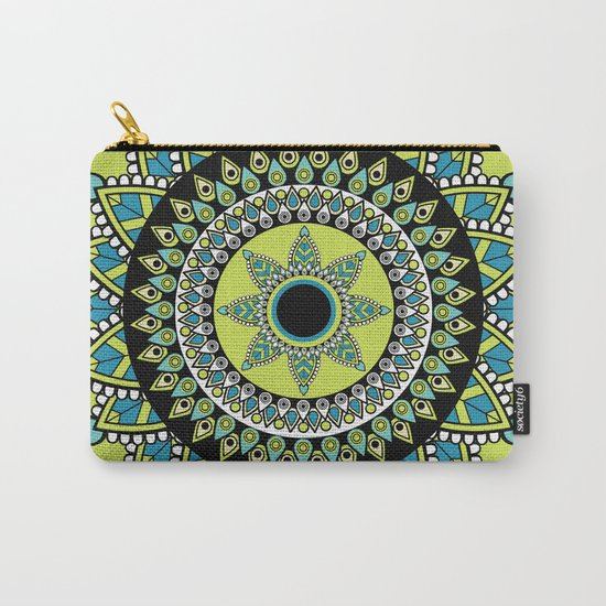 Green & Blue Decorated Indian Mandala Carry-All Pouch