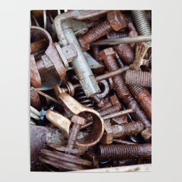 old rustry screw,nuts and bolt Poster