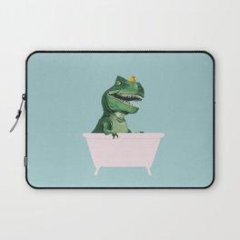 Playful T-Rex in Bathtub in Green Laptop Sleeve