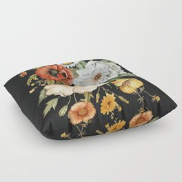 Wildflower Bouquet on Charcoal Floor Pillow