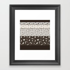 SWEET LEAFS PATCHWORK: BROWN Framed Art Print